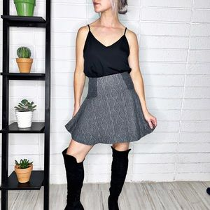 Alice + Olivia Gray Quilted Textured Skater Skirt